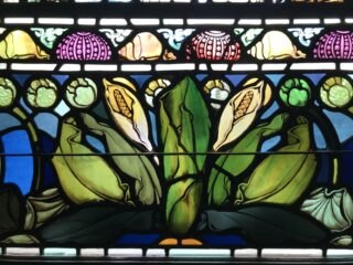Stained glass window featuring skunk cabbage detail from 1901.