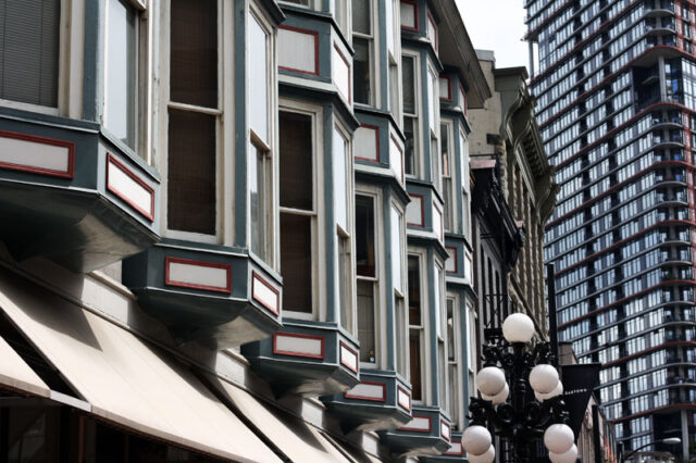 View of row of bay windows in Gastown